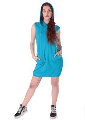 Dámská šatovka Wendy modrá s kapucí - 3