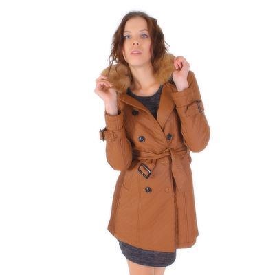 Luxusní prošívaný hnědý kabát Celest - 4
