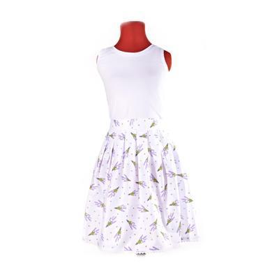 Bílá zavinovací sukně Dana s levandulemi - 4
