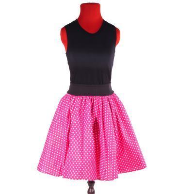 Růžová kolová sukně Adel s puntíky - 4