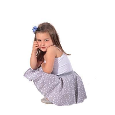 Dívčí šedá kolová sukně Elza s hvězdičkami - 4