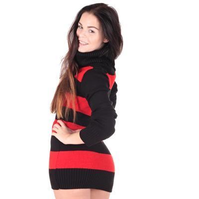 Luxusní červený pulovr Tereza s rolákem - 4
