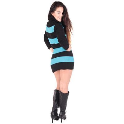 Luxusní modrý pulovr Tereza s rolákem - 4