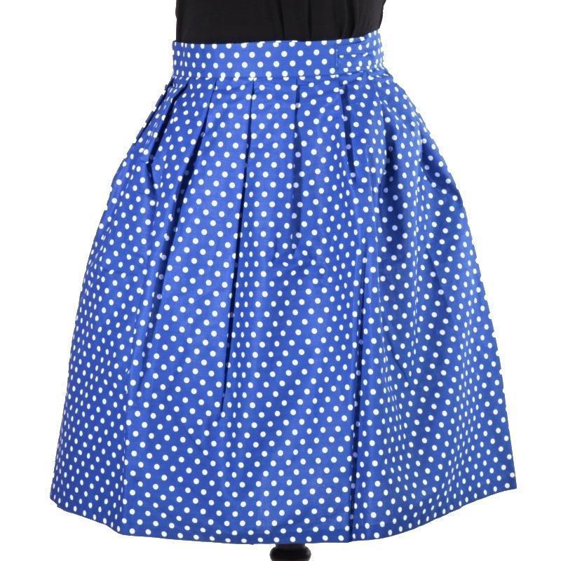 34accf30c24f Puntikatá modrá zavinovací sukně Merisa - 1  +  zvětšit