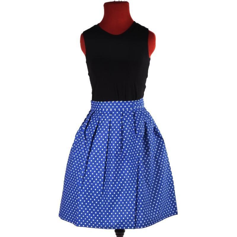 375c1ca0f34b Puntikatá modrá zavinovací sukně Merisa - 2  +  zvětšit